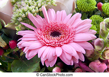 Gebera bouquet - Bouquet with pink gebera in the center of...