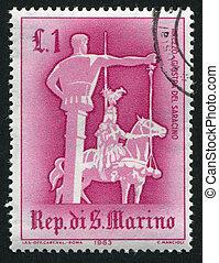 Jousting - SAN MARINO - CIRCA 1963: stamp printed by San...