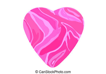 Sweet flamed love - Pink flamed big heart isolated over...