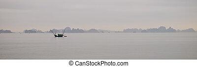 panorama, vista, largo, bahía,  vietnam, noche,  Ha, Antes