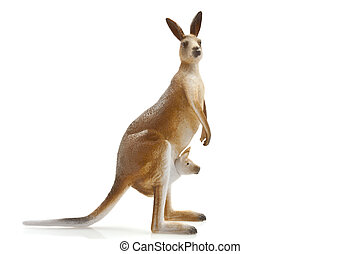 Kangaroo with little one in her bag isolated over white