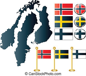 Maps of Finland, Sweden, Norway - Vector of Maps of Finland,...