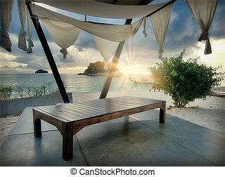Lounge on a beach - Lounge with tent on a tropical beach