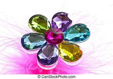 Jewel flower - Colorful shiny jewel stones on a white...