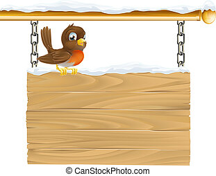Winter robin sign - Illustration of a cute Robin red breast...