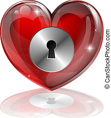 Heart lock - Illustration of a heart shaped lock with...