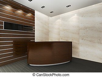 Reception Area - A reception area in an office block A blank...