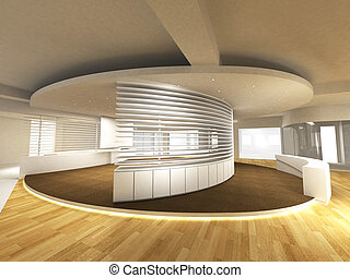 Office Area with Reception Counter - A reception area in an...