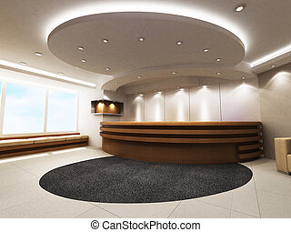 Reception Counter - A reception area in an office block A...