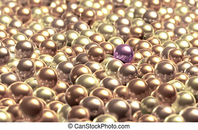 Pearls - A purple pearl stands out from the other creamy...
