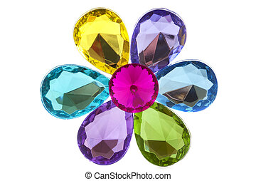 Jewel flower - Colorful jewels as a flower isolated over...
