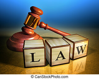 Law and gavel - Some wooden cubes forming the word law, in...