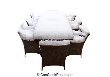 Ice cold dinner - Table with a lot of fresh snow isolated...