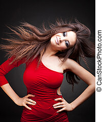 woman with long  hair in motion