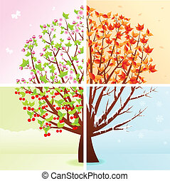 Four Seasons - Four season tree: spring, summer, autumn,...