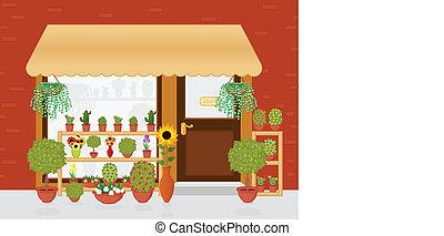 Flower Shop - Cartoon illustration of flower shop.