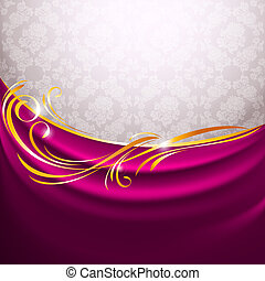 Pink fabric curtain, gold vignette, vector design