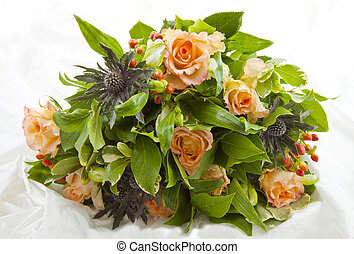Bouquet on satin - Bunch with different kind of flowers...