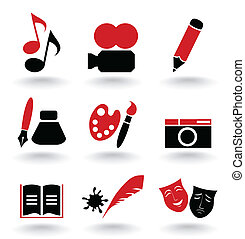 Art icon - Set of icons on a theme art A vector illustration...