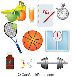 Set of objects for fitness - Objects for fitness, natural...