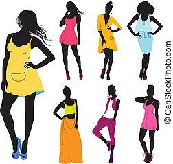 set of various beautiful model girls in dress.Lady girls -...