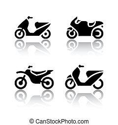 Conjunto, transporte, iconos, -, motocicletas