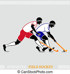 Athlete Field hockey players - Greek art stylized field...