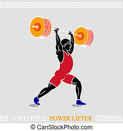 Athlete Power lifter - Greek art stylized heavy weight power...