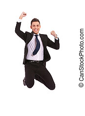extremely excited business man jumping - Excitement of...
