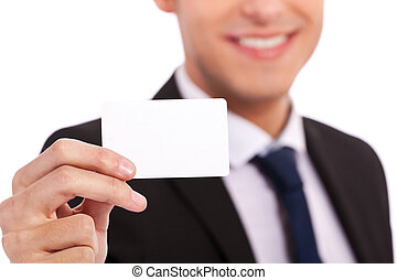 Blank Credit Card in Business man Hand on white background