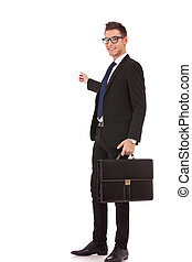 business man with briefcase presenting - Happy business man...