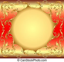 background frame with circular gold(en) drawing