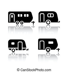 Set of transport icons - trailers, vector