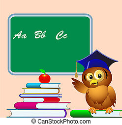 owl points to school board on pile of the books apple -...