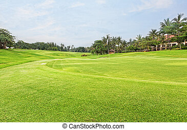 Golf course with palm trees over blue cloudy sky