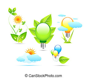 Nature and electricity icons