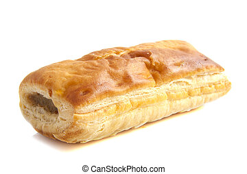 Sausage roll isolated on a white background
