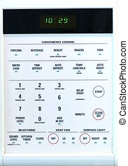 MICROWAVE KEYPAD - A close up of a keypad with digital clock...