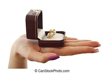 My love to you - Female hand with golden pearl ring in a...