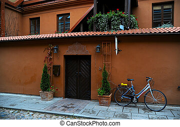parked bicycle in the old city of Vilnius