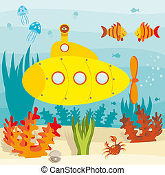 Submarine in ocean - Cartoon submarine investigates the...