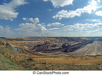 Open pit - Wide angle view of an open pit
