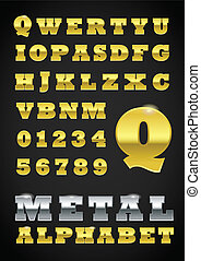 Set of metal vector letters