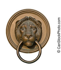 Lion door knocker isolated on white