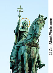 Statue of Saint Stephen I - the first king of Hungary in...