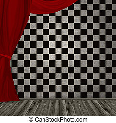 dark room with red curtain