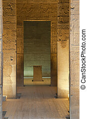 The view inside the Temple of Isis at Philae Island.(Egypt)