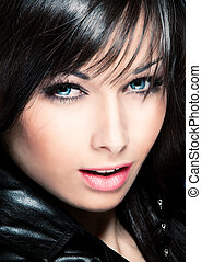 blue eyes - beautiful black hair young woman with blue eyes