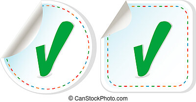 Abstract check box stickers with check mark