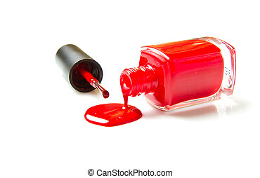 red nail polish - close up of nail polish flow on white...